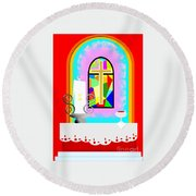 High Stained Glass Round Beach Towel