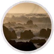 High Surf At Asilomar Beach Round Beach Towel