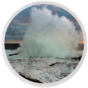 High Surf Explosion Round Beach Towel