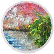 High Tide In Paradise Round Beach Towel