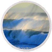 High Tide On The Atlantic Ocean Round Beach Towel