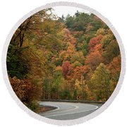 High Walls Of Fall Colors Round Beach Towel