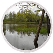 High Water Reflections Round Beach Towel
