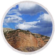 High, Wide, And Awesome Round Beach Towel