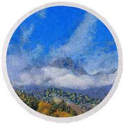 High Winds And Clouds Round Beach Towel