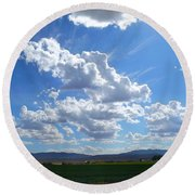 High Winds Chase The Rain Clouds Away Round Beach Towel
