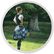 Highland Dancer Round Beach Towel