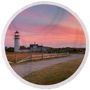Highland Light Sunset 2015 Round Beach Towel