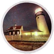 Highland Light Truro Massachusetts Cape Cod Starry Sky Shadow Round Beach Towel