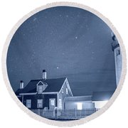 Highland Lighthouse Truro Ma Cape Cod Monochrome Blue Nights Round Beach Towel