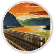 Highlands Of Hudson, Railway, Train Round Beach Towel