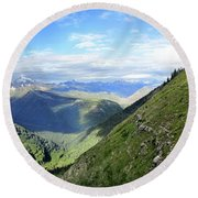 Highline Trail Overlooking Going To The Sun Road - Glacier National Park Round Beach Towel