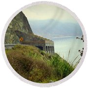 Highway 1 At Lucia South Of Big Sur Ca Round Beach Towel
