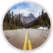 Highway 20 On Rainy Pass In North Cascades National Park Round Beach Towel