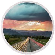 Highway 36 To Beautiful Boulder Colorado Round Beach Towel