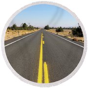 Highway In Central Oregon Round Beach Towel