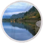 Highway Light Trails On Columbia River Gorge Round Beach Towel