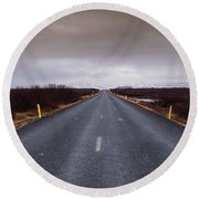 Highway Straight Road Leading To The Snowy Mountains Round Beach Towel