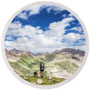 Hiker And Dog Round Beach Towel