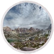 Hiker At Twin Lakes - Chicago Basin - Weminuche Wilderness - Colorado Round Beach Towel