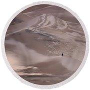Hiker - Great Sand Dunes - Colorado Round Beach Towel