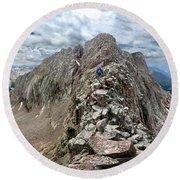 Hiker On Mt Eolus Catwalk - Chicago Basin - Weminuche Wilderness - Colorado Round Beach Towel