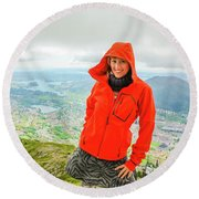 Hiker Woman In Norway Round Beach Towel