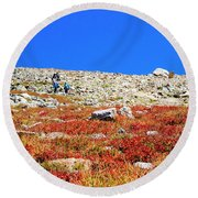 Hikers And Autumn Tundra On Mount Yale Colorado Round Beach Towel