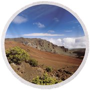 Hikers Inside Haleakala  Round Beach Towel