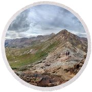 Hikers On Columbine Pass - Weminuche Wilderness - Colorado Round Beach Towel