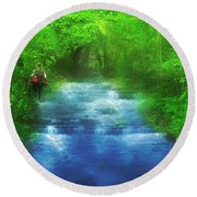 Hiking At The Rivers Edge Round Beach Towel