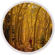 Hiking In Fall Aspens Round Beach Towel