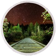 Hiking Into The Night Adirondack Log Keene Valley Ny New York Round Beach Towel