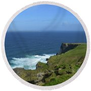 Hiking Path Along The Top Of The Cliff's Of Moher Round Beach Towel