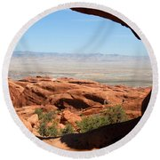Hiking Through Arches Round Beach Towel
