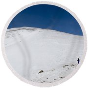 Hiking To Summit Of Mount Elbert Colorado In Winter Round Beach Towel