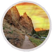 Hiking Trail At Smith Rock State Park Round Beach Towel