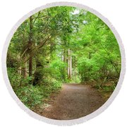 Hiking Trail Through Forest Along Lewis And Clark River Round Beach Towel