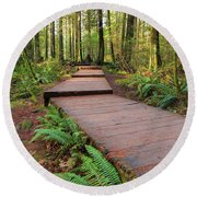 Hiking Trail Wood Walkway In Lynn Canyon Park Round Beach Towel