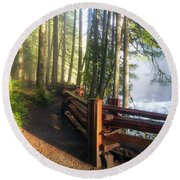 Hiking Trails At Lower Lewis River Trail Round Beach Towel