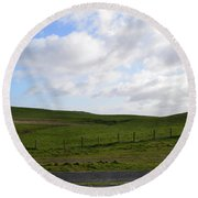Hiking Trails, Rolling Hills And Grass Fields In Ireland Round Beach Towel