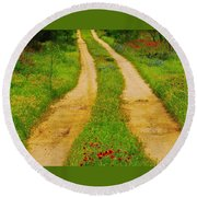 Hill Country Backroad Round Beach Towel