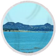 Hill Country Lake Round Beach Towel