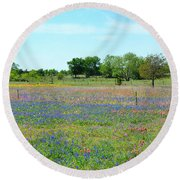 Hill Country Pastel Panorama Round Beach Towel