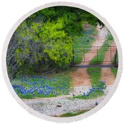 Hill Country Road Round Beach Towel