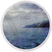 Hill In The Distance Round Beach Towel