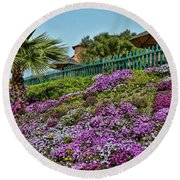 Hill Of Flowers Round Beach Towel