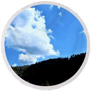 Hills And Sky Round Beach Towel