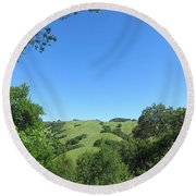 Hills Beyond The Trees Round Beach Towel