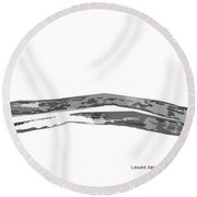 Hills In Black And White Round Beach Towel